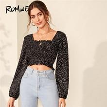 цена на ROMWE Shirred Trim Polka Dot  Blouse Square Neck Long Sleeve Womens Tops and Blouses Fall 2019 Clothing Ladies Sweet Crop Tops