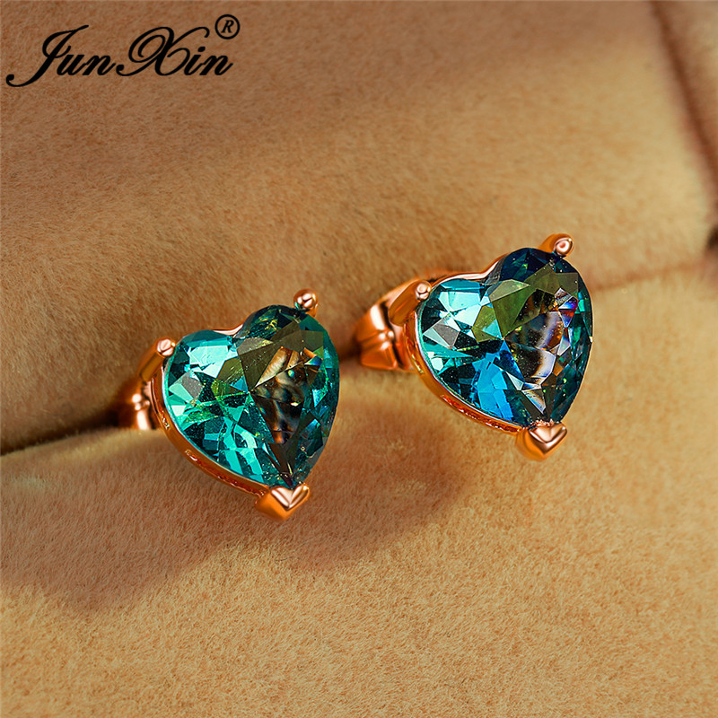 Female Mystic Rainbow Fire Crystal Small Heart Earring White Gold Rose Gold Color Blue Green Zircon Wedding Stud Earrings Women