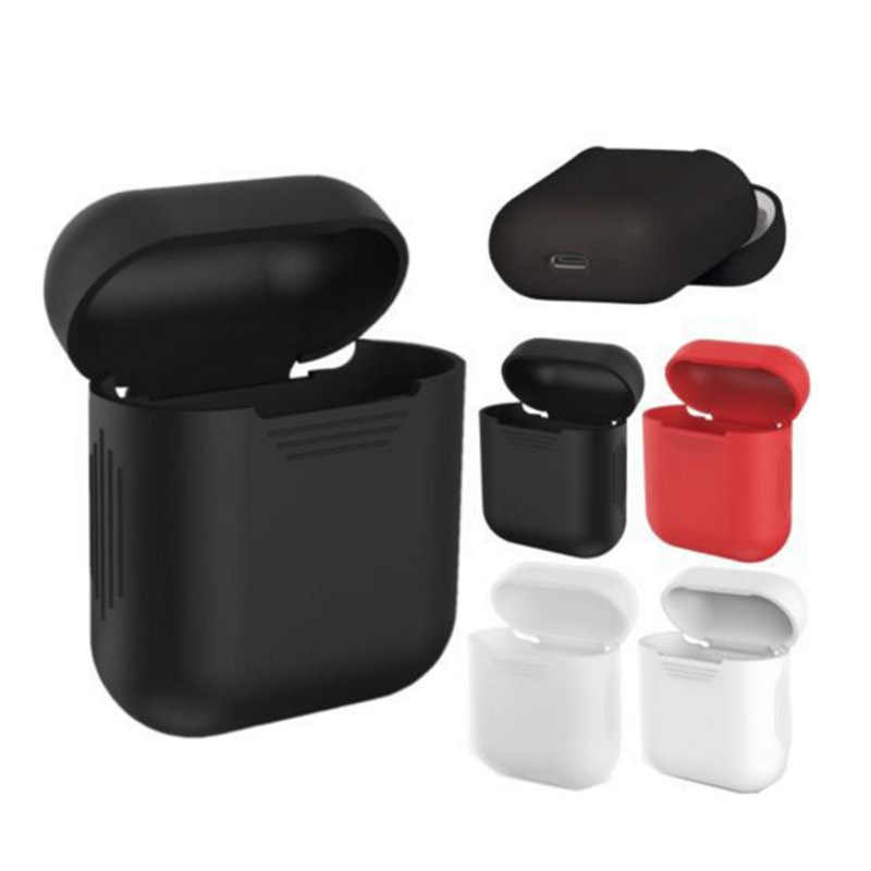 Silicone Skin Case For Airpods Proof Protector Cover Pouch Anti Lost True Wireless Earphone Accessories White Black Red