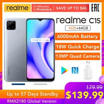 Перейти на Алиэкспресс и купить Realme C15 глобальная версия 4 ГБ ОЗУ 64 Гб ПЗУ Helio G35 6000 мАч батарея 13 МП AI Quad камеры Поддержка многоязычного Play Store