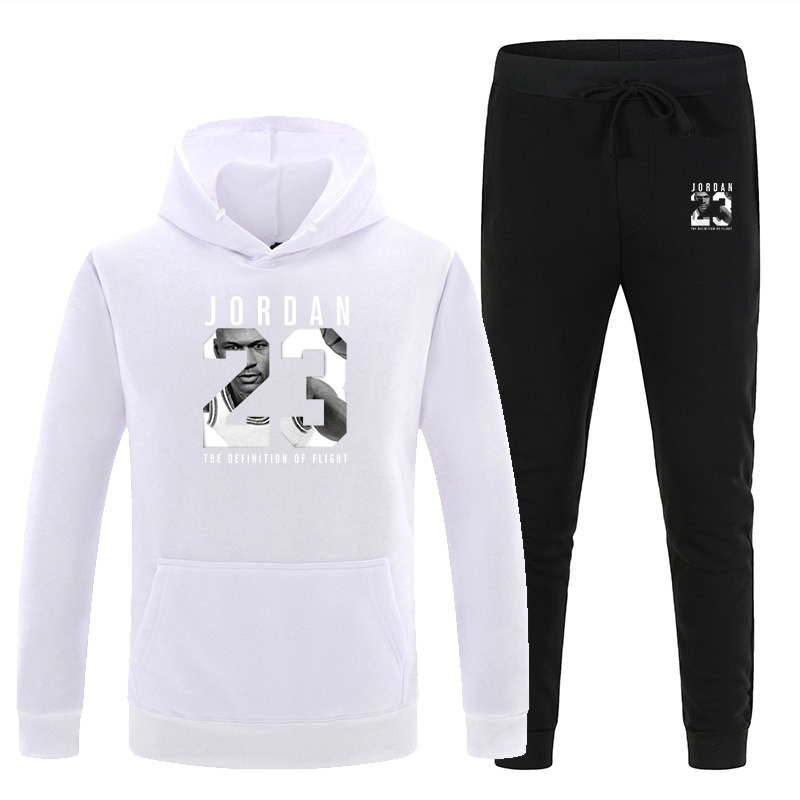 New Men's Hooded Sweater Set White Red Pink Sportswear Pullover Sweater Hoodie + Sweatpants Jogging Men's Pullover 3XL Sports Su 2