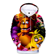 Five Nights At Freddys Long Sleeve Hoodies Kids Boys Girls Autumn Hooded T-shirt Fnaf Clothing Children's Outerwear Baby Tshirt