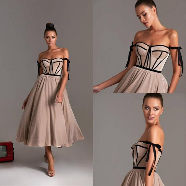 Brown Cocktail Dresses 2020 Sweetheart Tulle Tea Length Cheap Prom Dress Zipper Back Custom Made Homecoming Gowns