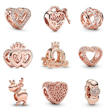 Original 925 Sterling Silver Beads Charm Heart Shape Diy Round Crown Elk Bead For Women Diy Pandora Charm Bracelet Necklace original 925 sterling silver beads charm blue crystal 925 heart snowflake bead for women diy pandora charm bracelet necklace
