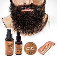 Isner mil sakal bakım seti saf doğal sakal yağı sakal balsamı sakal yıkama tarak erkekler sakal uzatma temizleme tımar kiti