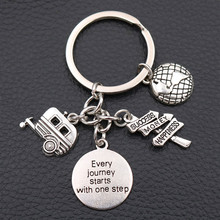 Every journey starts with one step Tags Metal Keychain, Success Charms, RV  Charms ,Happiness Charms ,A2048 1pcs цена