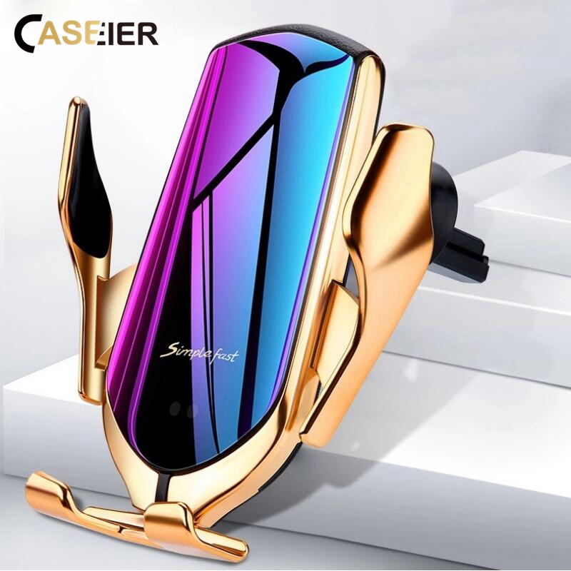 Wireless Charger Car Phone Holder Smart Infrared Sensor Automatic Lock Air Vent Mount Stand Charging Holder For Phone In Car