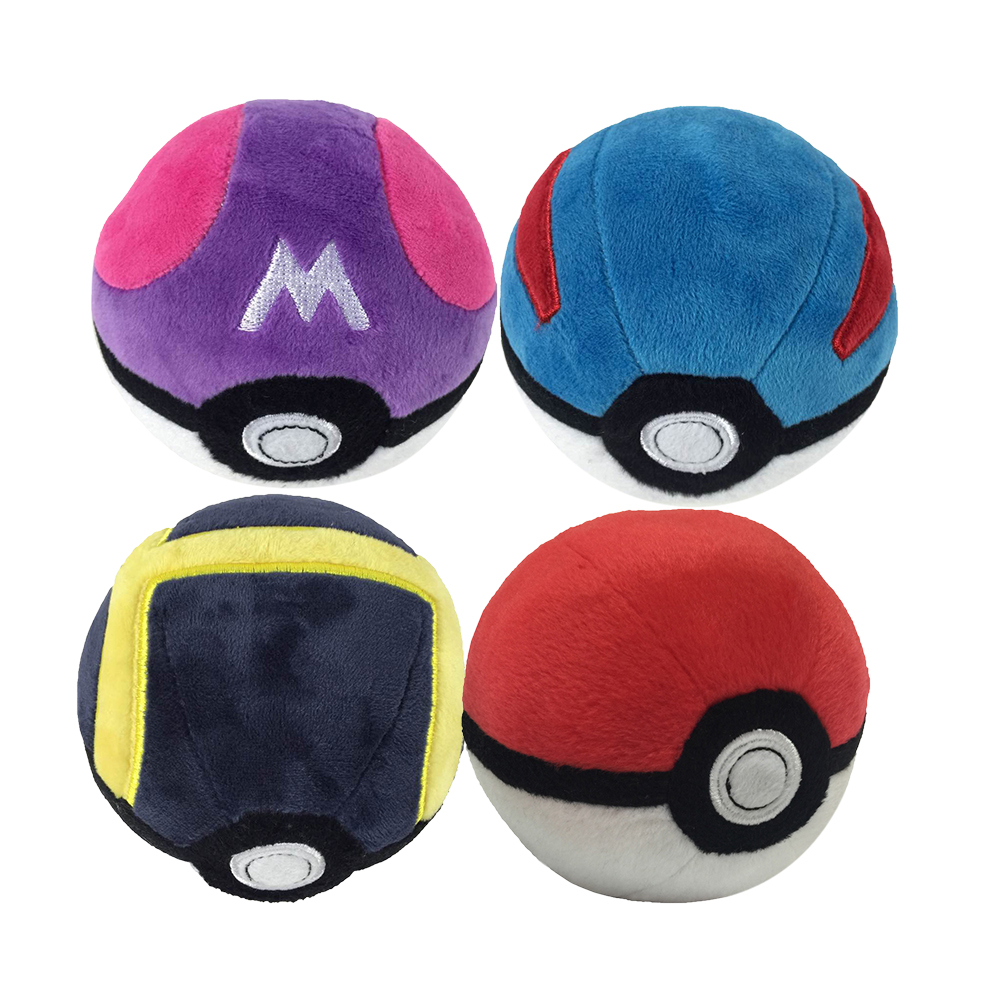 Anime 4PCS/Set Great Ball Ultra Ball Master Ball Premier Ball Plush Pendant With Keychains Cute Peluche Stuffed Dolls 12.5CM