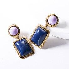 2019 Za Brand Designer Luxury Elegant Resin Metal Square Statement Drop Dangle Earrings For Women Fashion Jewelry Gift Wholesale