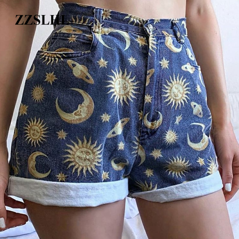 Women's Shorts Fit Young Girls Planet Printed Pattern Shorts Women School Short Pant Loose Streewear Sun Star Ladies Shorts