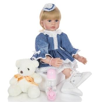KEIUMI 24 Inch Elegant princess blond girl Reborn Baby doll 60 cm Soft Vinyl Cloth Body alive bebe toddler reborn toys gift