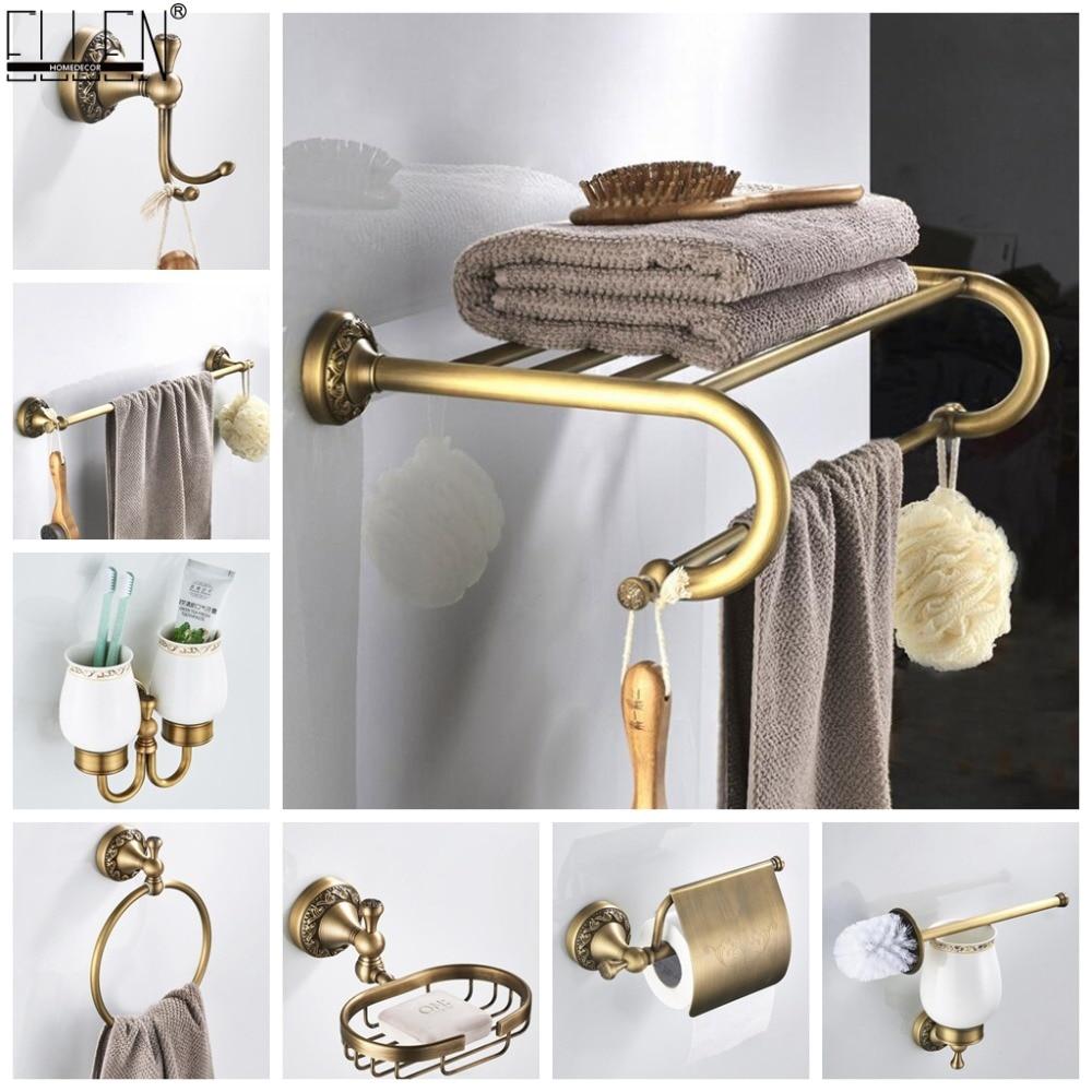 Bathroom Accessories Antique Bronze Towel Shelf Toilet Paper Holder Soap Holder Towel Rack Tumble Holder Antique Bronze Elf4001 Bath Hardware Sets Aliexpress