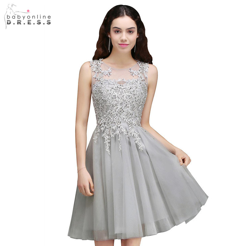 In Stock Silver Short Lace Cocktail Dresses Sexy Illusion Backless Mini Party Dresses Draped Vestidos Coctel Robe De Cocktail