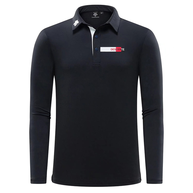 New Swirling Men Golf Clothing Polo Long Sleeve Shirt DESCENTE Comfortable Breathable