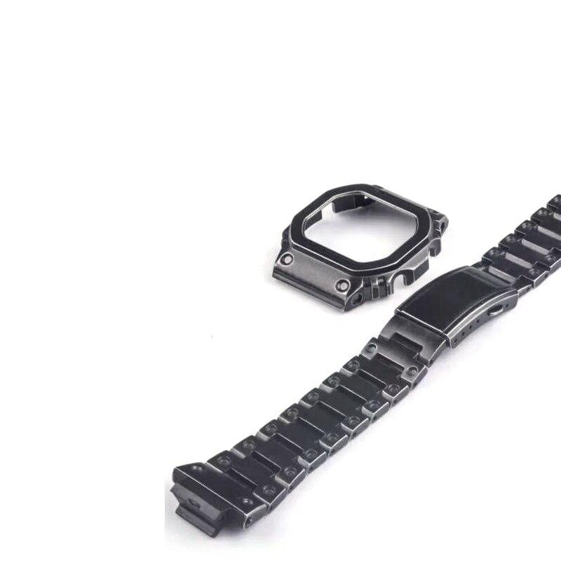 Rétro noir bracelets de montre GWM5610 DW5600 GW5000 Bracelet de montre et boîtier ensemble de lunette en métal en acier inoxydable Bracelet en acier ceinture accessoires