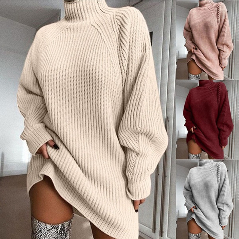Mid-long Half-high Collar Sweater Dress With Shoulder Sleeves In Wish Pop-up Knitted Sweater In Fall Of 2019