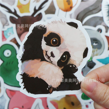 50pcs/lot Waterproof Super Cute Cartoon Animal Stickers For Car Laptop Phone Pad Bicycle Decal Kids Gift Cat Pig Dog image