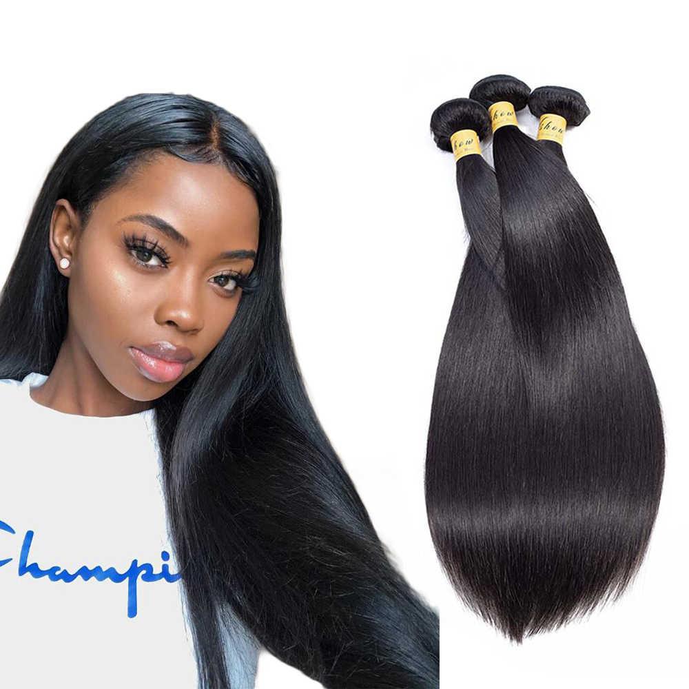 """Paquetes de pelo lacio indio extensiones de cabello humano doble trama Remy cabello tejido paquetes 10 """"-26"""" Color Natural VSHOW cabello indio"""