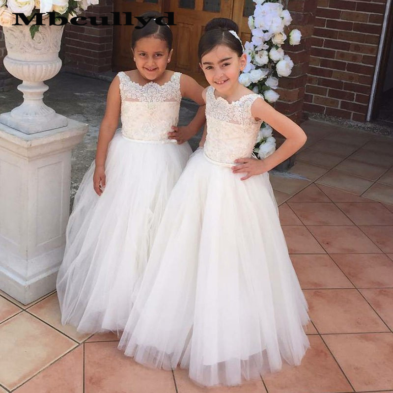 Mbcullyd White A-line Long   Flower     Girl     Dresses   For Weddings 2020 Lace Applique Primera Comunion Gowns New Cheap Brithday   Dress