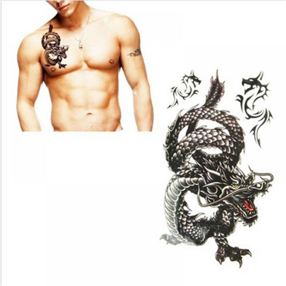 Hot Sale New 1pcs Delicate Cool Men Creative Design Black Dragon Waterproof Sweat Temporary Tattoo Stickers With Package