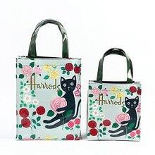 London Style PVC Reusable Shopping Bag Women's Bag Eco Friendly Flower Shopper Bag Waterproof Handbag Lunch Tote Shoulder Bag
