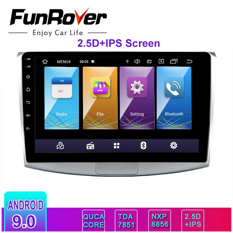 Lecteur dvd de voiture Funrover 2 din 2.5D + IPS Android 9.0 pour Volkswagen Passat B6 B7 CC Magotan 2011-2015 radio GPS navigation RDS BT