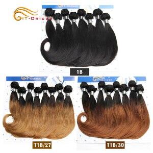 8 шт./лот, Ombre бразильские волнистые пучки волос, 100% короткие человеческие волосы, пучки для черных женщин 1B 27 30 Remy, вьющиеся волосы
