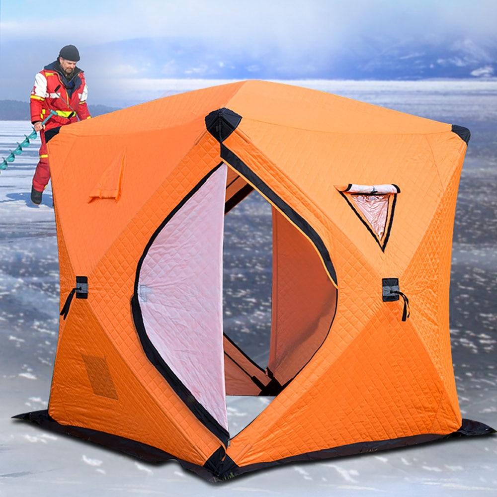 Большое пространство, для 3 4 человек, быстро открывающийся, толкающий, плюс хлопок, теплый, для улицы, зимний, для подледной рыбалки, утолщенная палатка, палатка для кемпинга, рыболовная палатка - 2
