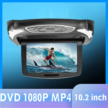 10.2 Inch Flip Down DVD Player with DVD HDMI Games USB SD IR 1080P Headset Roof Mount DVD Player for Car SUV Truck Trailer