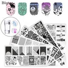 Biutee 5pcs Nail Art Stamping Set template & Stamper dubbele clear sjabloon schraper kit voor DIY Manicure Nail Art accessoires Set(China)