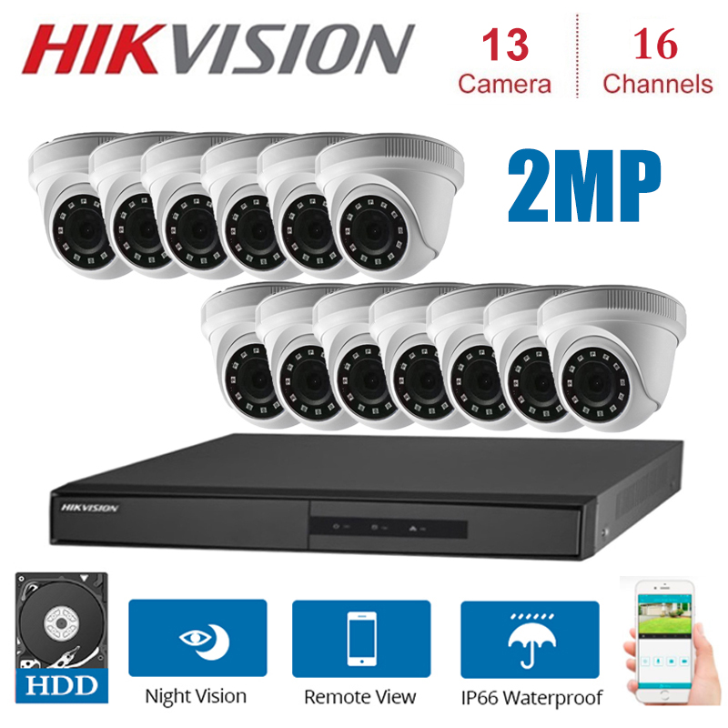 1080P 16 Channels  Surveillance Kits with13 *Indoor 2MP 4 in 1 HD Camera Security Night vision CCTV security system Kit Surveillance System     - title=