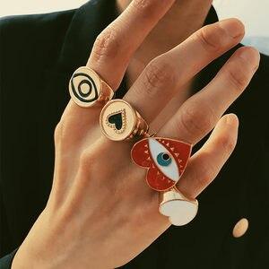 Flatfoosie 2019 Adjustable Lovely Red Heart Evil Eye Rings For Women Fashion Lady's Minimalist Gold Heart Evil Eyes Finger Ring(China)