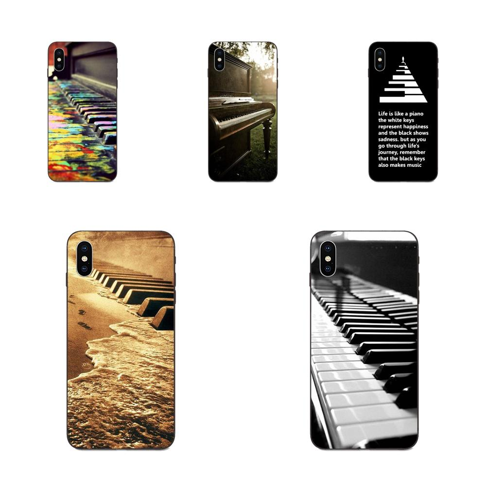 For Apple iPhone 4 4S 5 5S SE 6 6S 7 8 Plus X XS Max XR Soft Protective Skin Music Software Piano Plug image