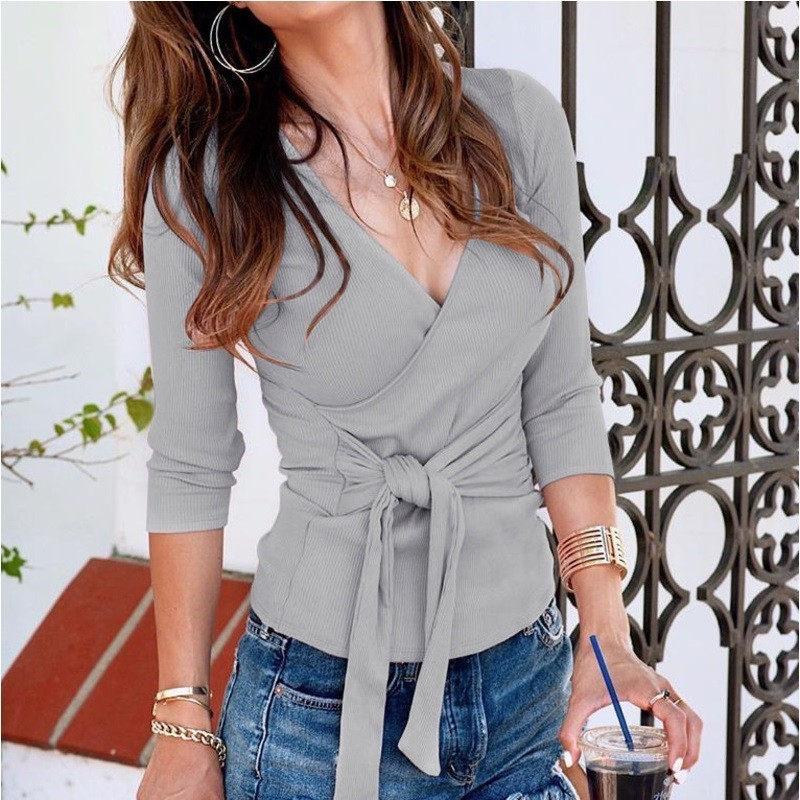 Belt Knit Sweaters Women Invierno 2019 Casual Sexy V-neck Long Black Fall Woman Sweaters Pullovers