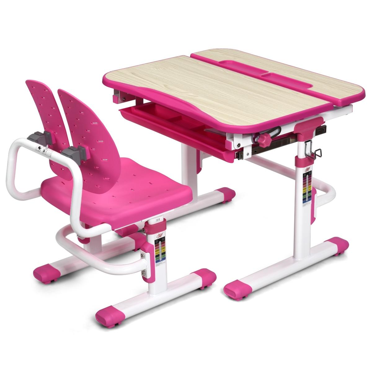 Costway Children Desk Chair Set Adjustable Study Table Drawer Winged Backrest Chair