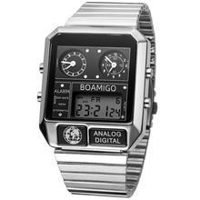 2020 new BOAMIGO brand men 3 time zone watch man sport digital watches stainless steel military quartz watch relogio masculino