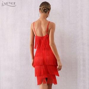 Image 3 - Adyce 2020 新夏の女性の包帯ドレスセクシーな v ネックタッセルフリンジ赤クラブドレス vestidos エレガントなミディセレブパーティードレス