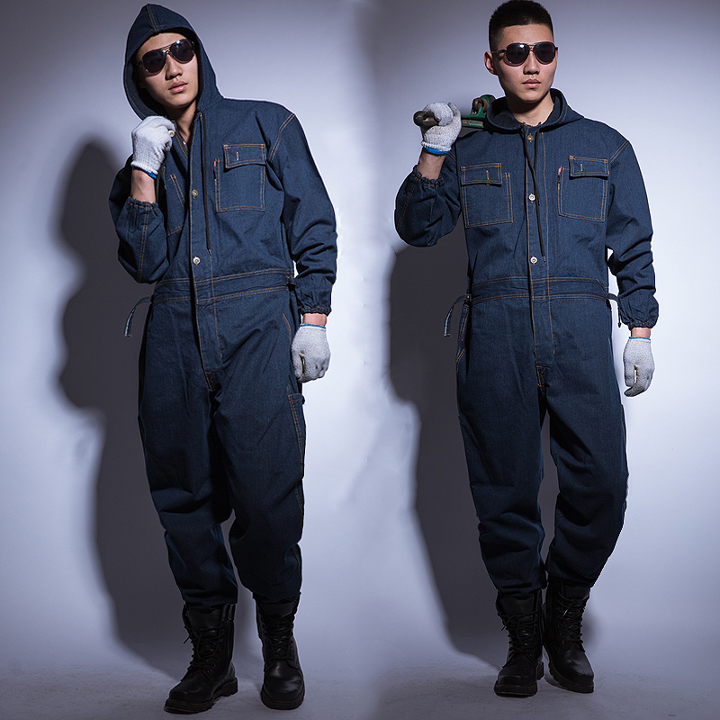 Jumpsuit Denim Cotton Thickening Suits Winter Men And Women Welding Overalls Auto Repair Coverallls Welder Suit Oficina Mecanica