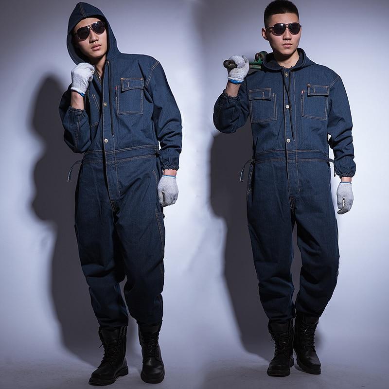 Jumpsuit Denim Cotton Thickening Suits Winter Men And Women Welding Overalls Auto Repair Coverallls Welder Suit Oficina Mecanica