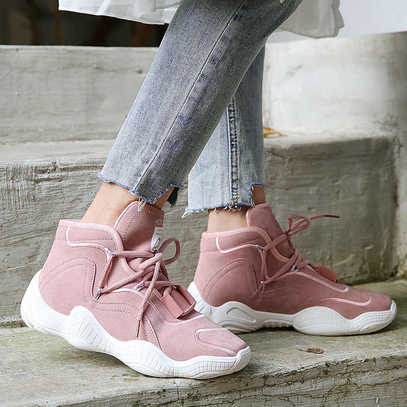 女性ピンク秋の女性のブーツカジュアルシューズ女性フラットファッション足首ブーツ黒、白のスニーカー厚底靴の女性