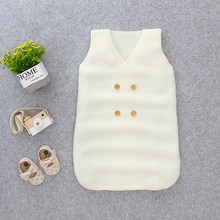 Autumn Winter Newborn Baby Sleep Sack Knitted Lovely Sleeping Bags Sleeveless Babies Swaddle Wrap Swaddling footmuff for strolle(China)