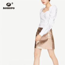 цена на ROHOPO Puff Long Sleeve Square Collar Back Smocking Crop Blouse Front Buttons Flared Hem Cotton Solid Top Shirt #9285