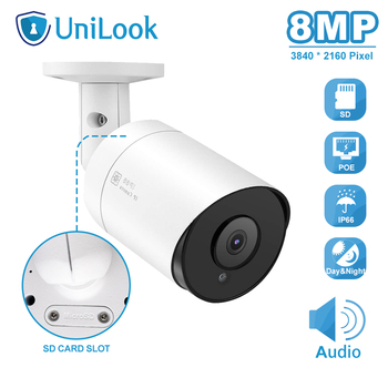 UniLook 8MP 4K Bullet POE IP Camera With SD Card Slot Outdoor Security Camera IP66 Hikvision Compatible Night Vision H.265 ONVIF hikvision h 265 poe ip camera ds 2cd2135fwd i 3mp wdr fixed network camera built in sd card slot replace ds 2cd2135f is