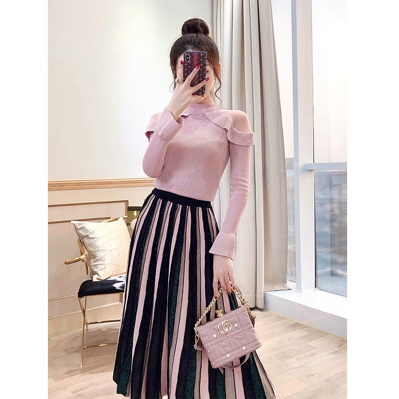 Europe And America Set WOMEN'S Dress Goddess Slimming 2019 New Style Knit Pleated Skirt Sweater Dress Outfit Two-Piece Set