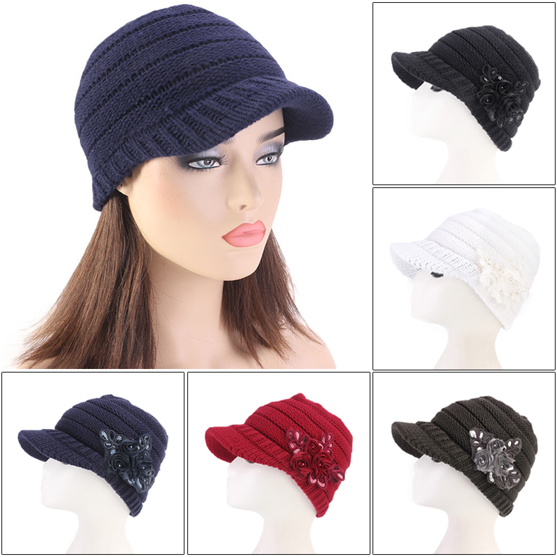 New Arrival Women Floral Flower Stretchy Knit Visor Hat Cap Warm for Autumn Winter Outdoor