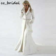 Shawl Wedding-Coat Cloak Bridal-Jacket Satin-Fabric Faux-Fur Long-Sleeves Party Winter