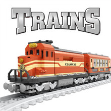 City Train Power-Driven Diesel Rail Train Station Cargo With Tracks Set Model Technic Building Blocks Toys Block For Children 98219 98220 compatible city series power driven diesel rail train cargo with track set model building blocks toys for kids