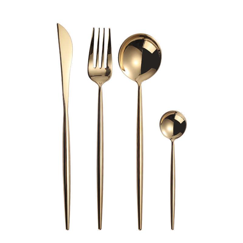 Specchio Oro Forchette Cucchiai Coltelli Da Tavola In Acciaio Inox Set di Posate In Acciaio Inox Posate Set Oro Bacchette Cucchiaio Coltello Forchetta Set