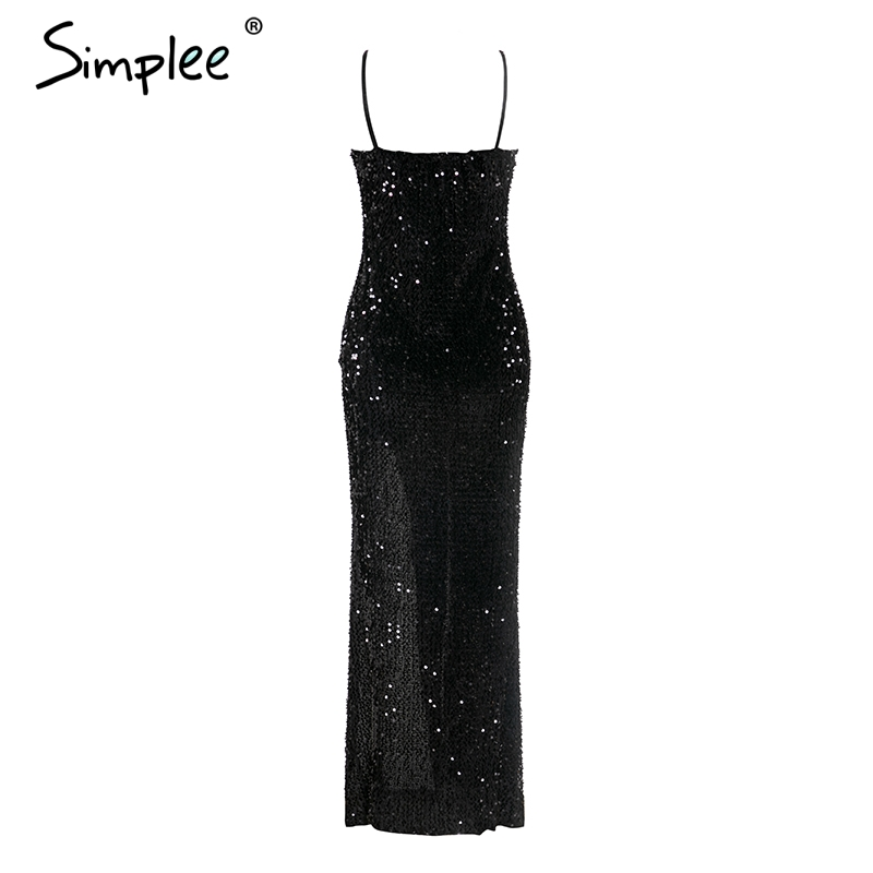 Sexy v-neck sequined long dress women S 1