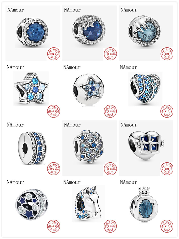 New blue nokk crown star clip winter crystal Elevated Beads Fit Original Pandora charms silver 925 Bracelet Bead Jewelry making(China)